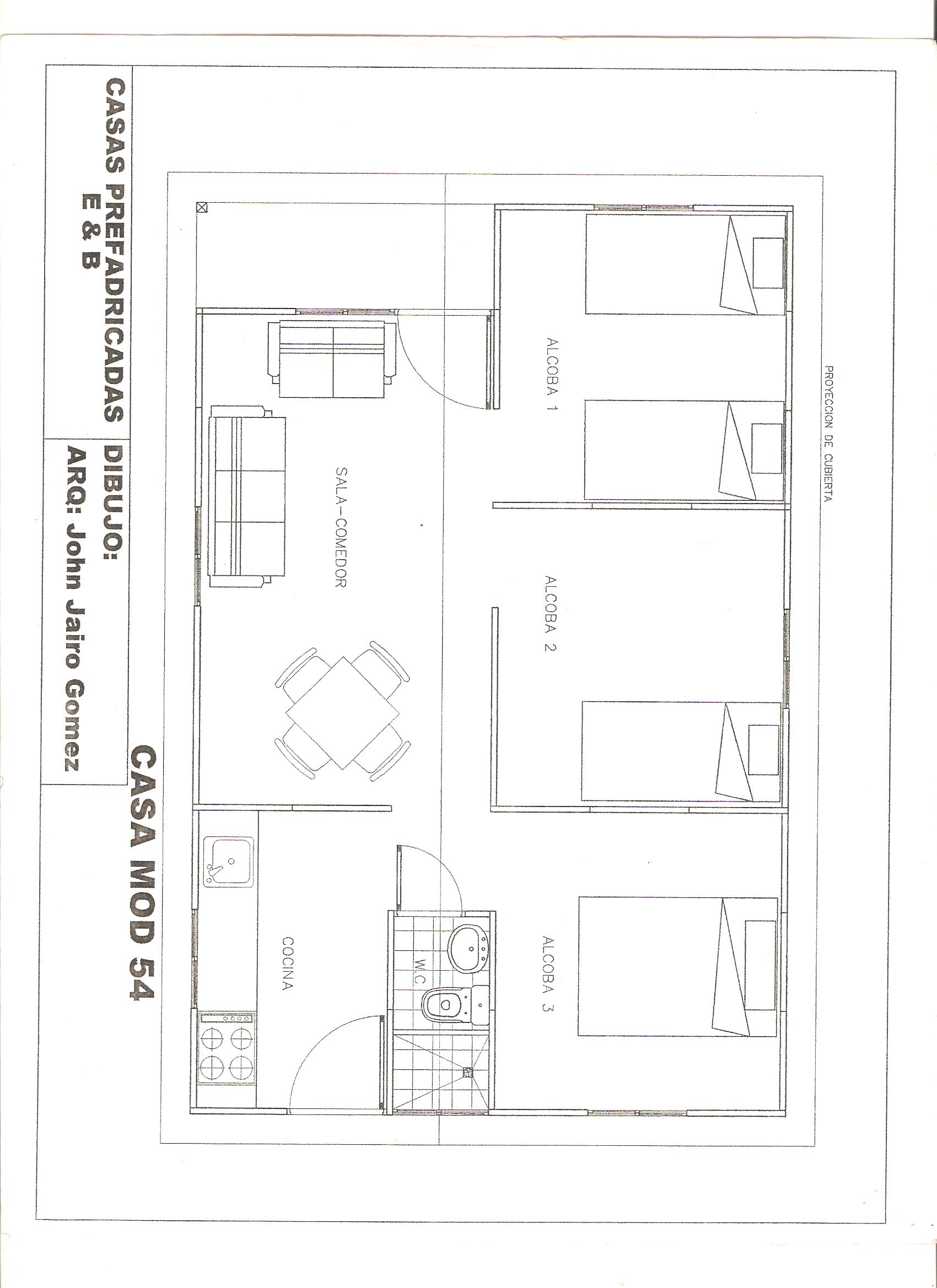 planos de casas 54 m2