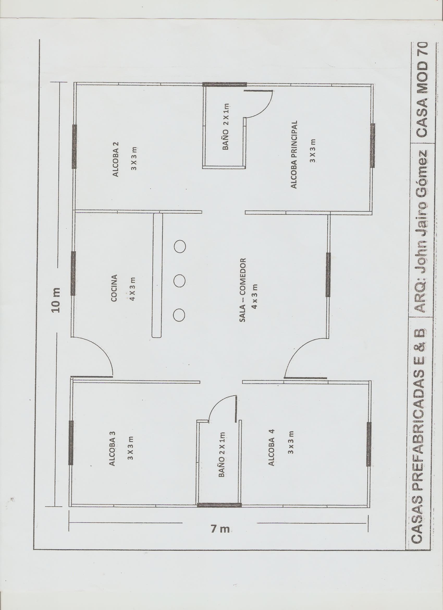 Planos casas prefabricadas bonilla for Casas modernas de 70m2